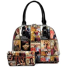 Glossy Magazine Cover Collage 2-in-1 Dome Satchel   Wallet Set Michelle  Obama Handbag (Multi)  michelleobama 38aff5a8f8e29
