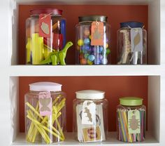 Acrylic Jars | Pottery Barn Kids  {love these for supplies, or a kids room, or a party...since my daughter once shattered a large glass container trying to get her crayons down from a shelf, I think I should switch to acrylic}  :)