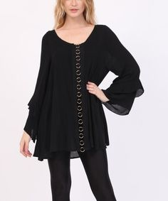 Another great find on #zulily! Black Ring-Accent Bell-Sleeve Swing Tunic - Plus Too #zulilyfinds