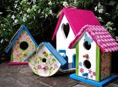 decorated mini birdhouses