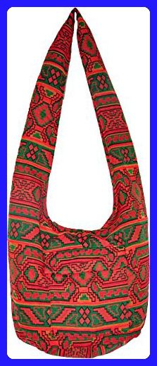Big Native Lanna Style Asian Thai Hippie Boho Hand Made Cotton Fabric Woven Pattern Sling Shoulder Tote Cross Body Bag From Chiangmai Thailand - Totes (*Amazon Partner-Link)