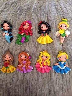 Set of original princess look clay - pendant- scrapbooking- polymer clay- princesses clay- bow embellishment: