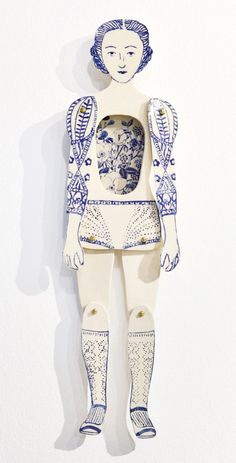 These beautiful, one of a kind ceramic creations by Sonia Pulido have just made my day. Love the detailed linings in blue and t Paper Puppets, Paper Toys, Paper Art, Paper Crafts, Whimsical Fashion, Art Plastique, Art Dolls, Dolls Dolls, Ceramic Art