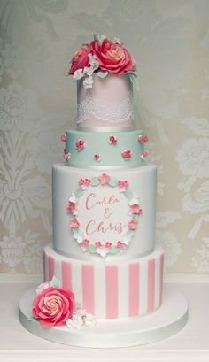 Coral Roses and Stripes Wedding Cake Extravagant Wedding Cakes, Amazing Wedding Cakes, Amazing Cakes, Cool Cake Designs, Wedding Cake Designs, Wedding Ideas, Wedding Cake Base, Wedding Favors Unlimited, Sugar Lace