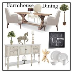 """Farmhouse Dining"" by doragutierrez on Polyvore featuring interior, interiors, interior design, home, home decor, interior decorating, Jo Malone, Home Decorators Collection, Levtex and One Hundred 80 Degrees"