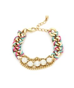 Crystal Braided Chain Bracelet - Multicolored #shoplately