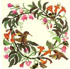Gathering Nectar, by Jeanna Kimball, baltimore style applique block pattern applique quilt block