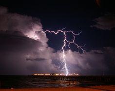 Beach thunderstorms.