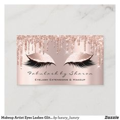 Artist Eyelash Lashes Glitter Drips Rose Business Card - tap, personalize, buy right now! Makeup Artist Eyelash Lashes Glitter Drips Rose Business Card - tap, personalize, buy right now! Gold Business Card, Makeup Artist Business Cards, Business Card Design, Salon Business Cards, Social Business, Schönheitssalon Design, Logo Design, Brochure Design, Cover Design
