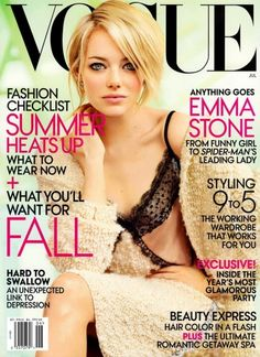 Emma Stone in Vogue. Just  bought this copy today. I admire her so much, & her beauty astounds me!