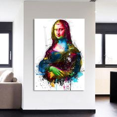 Colorful Mona Lisa Modern Abstract Framed 1 Panel Piece Canvas Wall Art Painting Wallpaper Poster Picture Print Photo Decor - Medium / framed