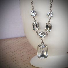Rhinestone Bridal Necklace Wedding Jewelry Crystal by RewElliott, $55.00