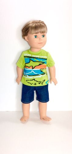 18 Inch Boy Doll Shark T-shirt with Jean Shorts Green Doll T-shirt by DonnaDesigned