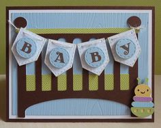 """baby """"crib"""" card.... would look cute in pink!"""