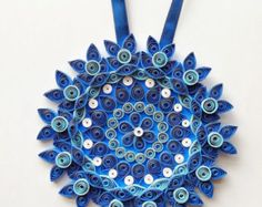 Large blue paper flower home decor decorations floral modern Wall art Wall hanging