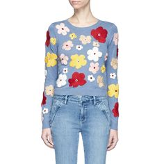 --evaChic--This Alice + Olivia Lucca Graphic Floral Sweater is a transitional weather statement-making essential featuring colorful floral embroidery. The cropped style works with an array of high-waist bottoms for a figure-elongating effect and lots of fashionable blends. Soft cotton makes it pleasant-to-wear, and a great layering piece.         https://www.evachic.com/product/alice-olivia-lucca-graphic-floral-sweater/