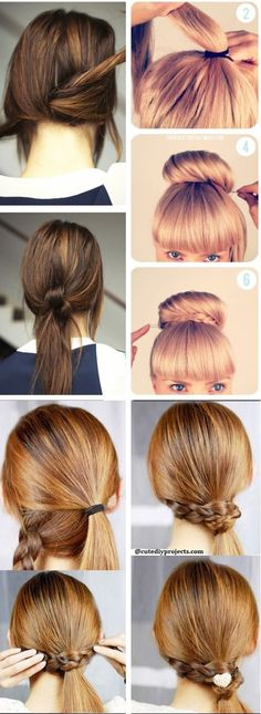 More than 25 Easy Hairstyles to Make In Less Than Five Minutes  #hairstyles #minutes Pretty Hairstyles For School, Easy Bun Hairstyles For Long Hair, Going Out Hairstyles, Classy Hairstyles, Super Easy Hairstyles, Fast Hairstyles, Unique Hairstyles, Hair Buns, Updos