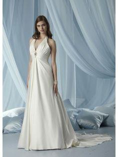 Tissue Satin V-neck Ruffled Bodice A-line Wedding Dress