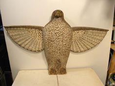 Folk Art Mechanical Hawk Painted Carved Wood Glass Eyes Lifesize Decoy Figure | eBay  sold   900.00.     ...~♥~