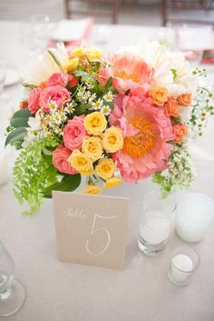peach wedding flower centerpieces