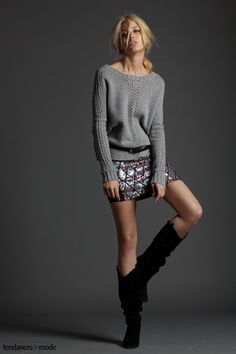 knit top + sequined skirt + black boots
