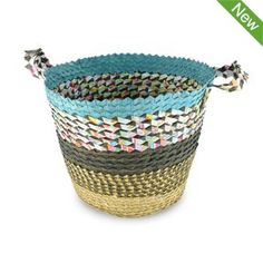 Recycled Paper and Palm Basket $39.95