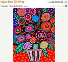 55% Off- Flower Art Floral Painting - Abstract Flowers Colorful Flowers Folk Art Print Art Print Poster by Heather Galler