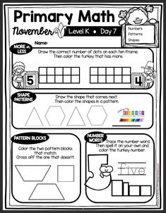 LEARN AT HOME FREEBIES for NOVEMBER kindergarten lessons printable worksheets Thanksgiving fall November first sounds number sense counting to 20 shapes 2D and 3D shapes sight words CVC words word work letter sounds beginning sounds ending sounds rhyming #kindergartenliteracy #kindergartenmath