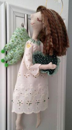 Tilda Angel Doll Fabric Linen Handmade Doll Green by UlsiHandmade