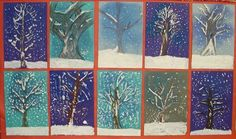 very easy Winter Wonderland Painting Lesson Plan: Painting for Kids - KinderArt Classroom Art Projects, School Art Projects, Art Classroom, Arte Elemental, Winter Art Projects, 4th Grade Art, Ecole Art, Kindergarten Art, Preschool Art