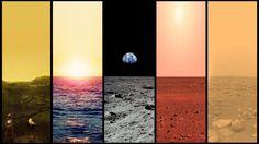 The horizons of Venus, Earth, Moon, Mars, and Titan.