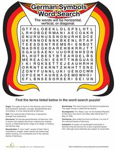 Worksheets: Countries Word Search: Germany