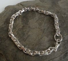 Silver chain bracelet men women