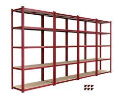 Heavy Duty 4 Bay Garage Shelving Unit 5 Tier Steel Racking Shelves MDF Board Red