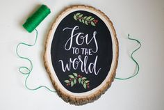 Joy to the World Chalkboard Wood Slice Christmas Sign - Handlettered Calligraphy Christmas Decor