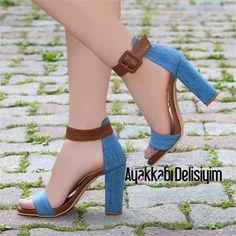 Alaras Taba Kot Kalın Topuklu Ayakkabı #jean #sandals #heels
