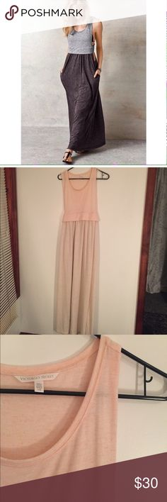 Victoria's Secret cutout side maxi 🔆 EUC Victoria's Secret knit cut out sides maxi dress in tan and pink color with pockets (!), first photo just to show fit, a great swim coverup! 🔆 Victoria's Secret Dresses Maxi