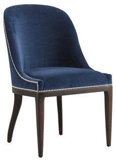 Maurice Velvet Side Chair, Navy   $1000 OneKingsLane