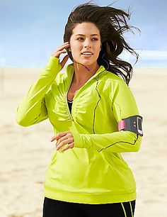 Perfect for the girl on the go, our TruDry Half Zip Active Jacket in bold lime fits AND flatters your curves. #LaneBryant