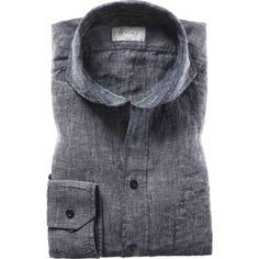 Gray indigo linen by Eton of Sweden.   Hubert-White-1916.tumblr.com