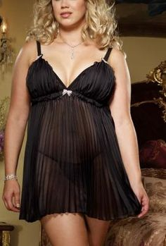 Plus Size Chiffon Babydoll and Thong Plus Lingerie c73be7608