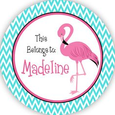Flamingo Personalized Name Label Stickers by PurpleBerryInk, $6.50