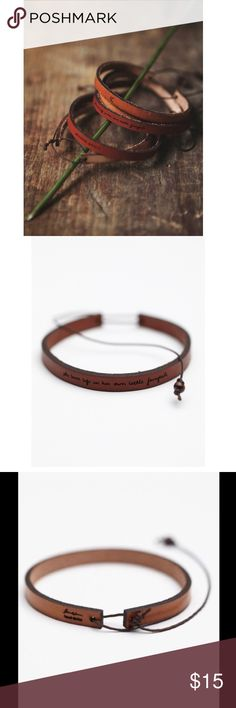 "Free People All In A Word Leather Bracelet Like new! American made laser etched bracelet. The etching on this one says ""a heart treasured."" Adjustable with string closure Free People Jewelry Bracelets"