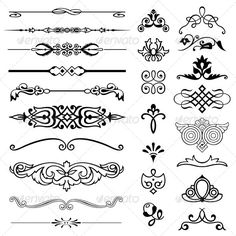 Illustration of Design elements vector art, clipart and stock vectors. Free Printable Monogram Letters, Tatuagem Diy, Nouveau Tattoo, How To Write Calligraphy, Wood Burning Patterns, Borders And Frames, Vintage Typography, Ornaments Design, Art Deco Design
