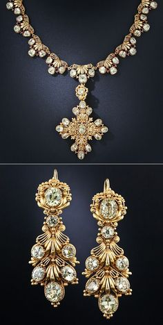 Early 19th Century Chrysoberyl Parure This elegant antique suite provides all your jewelry needs with a necklace, earrings that can be worn two different ways, long or short, and a brooch that can also be used as a pendant dropped from the necklace.
