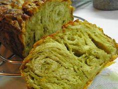 Pesto bread with metsovone and mozzarella cheese