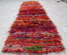 Multi Color Turkish Vintage Wool Shaggy Tulu Kilim Rug Hallway Runner 2' x 8'4'' #Shag