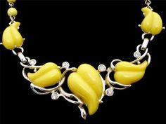 Vintage Kramer Yellow Thermoset Necklace Rhinestone Bead Signed Gold Tone | eBay