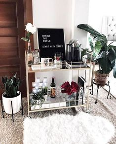 """Fantastic """"gold bar cart decor"""" information is offered on our internet site. Read more and you will not be sorry you did. Coffee Bar Design, Coffee Bar Home, Coffe Bar, Coffee Corner, Coffee Bar Party, Coffee Set, Coffee Tables, Bar Cart Styling, Bar Cart Decor"""