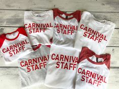 Carnival Staff Shirts - Circus Birthday Shirt- Personalized Birthday Shirt - Per. Circus Carnival Party, Kids Carnival, Circus Theme Party, Carnival Birthday Parties, School Carnival Games, Carnival Food, Circus Wedding, Carnival Ideas, Carnival Costumes